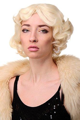 WIG ME UP - Perruque dame années 20 swing carré ondulé blond platine env. 25 cm A4002-613