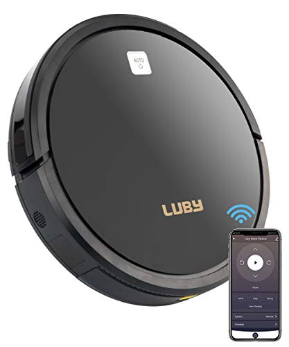 Luby Robot Vacuum Cleaner with Powerful 1600PA Suction Wi-Fi Connectivity, Self-Charging, Super-Thin, Quiet, Cleans for Pet Hair, Hard Floors, Low-Pile Carpets, Black