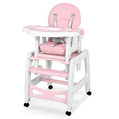 Kinderhochstuhl Babyhochstuhl Mitwachsender Multifunktions Hochstuhl 5in1 Tisch + Babystuhl regulierbar Schaukelfunktion SINCO Ricokids (Rosa)