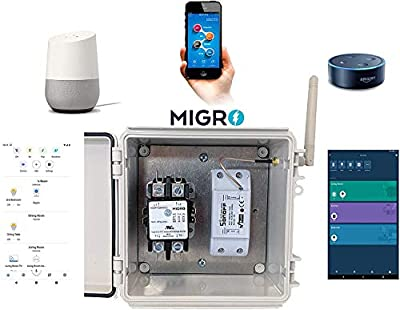 Migro Outdoor Smart Wi-Fi Outlet Box, Heavy Duty 50A Resistive 120VAC 40A 5HP Wireless Pump Control Timer Switch, Compatible with Smart Phone, Alexa, Google Home, IFTTT UL Listed