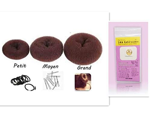Gamloious Brown Set Donut-Haarknoten mit 3 Ringen