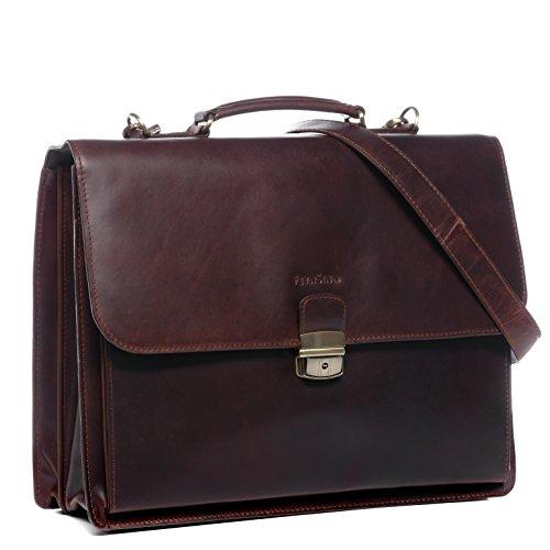 FEYNSINN Aktentasche echt Leder Emilio XL groß Businesstasche Bürotasche Laptoptasche Laptopfach 15.6' Ledertasche Herren braun