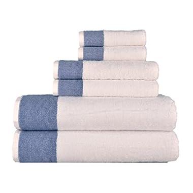 Venice 100-percent Luxury Turkish Combed Cotton Jacquard 6-Piece Towel Set, Denim Blue