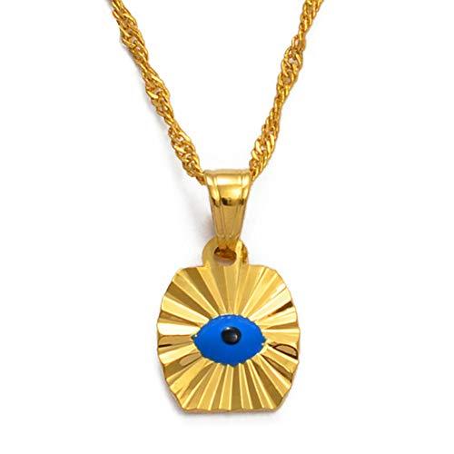 n a Kleine Mini Blue Eye Gold Farbe Böse s Auge Anhänger Halsketten Kette Kinder Mädchen arabischen Schmuck für den Nahen Osten Frauen