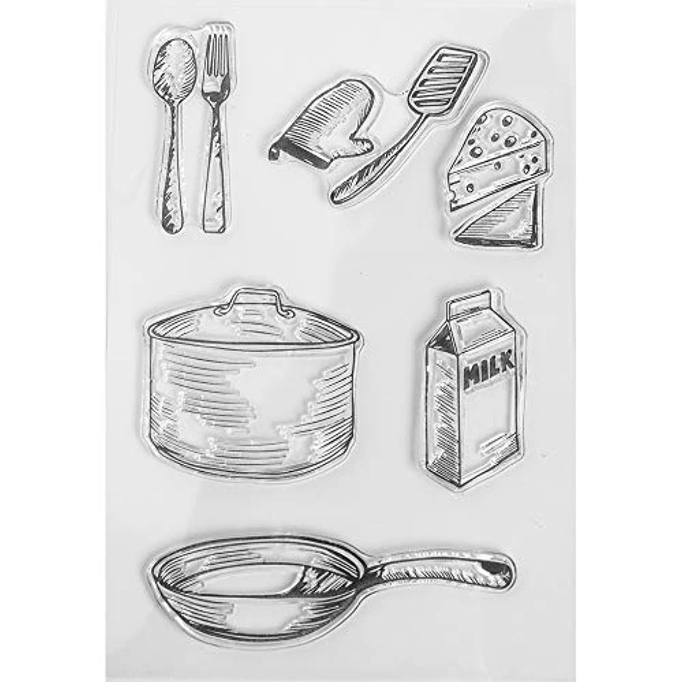 MaGuo Tableware Clear Stamps Pan, Knife Fork Paper Craft Projects and DIY Scrapbooking