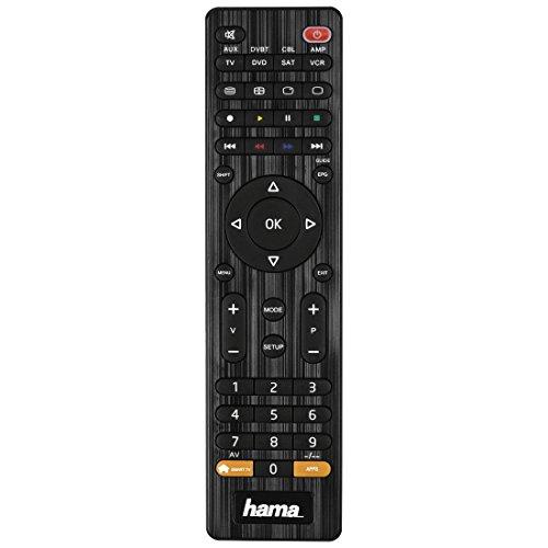Hama Universalfernbedienung 8 in 1 Smart TV (bis zu 8 Geräte steuern, alle gängigen Marken, Receiver, Set Top Box, DVD, Verstärker, Ersatzfernbedienung, schnell programmierbar) schwarz