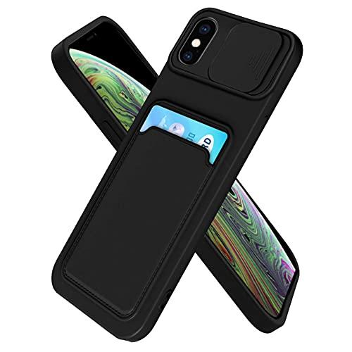 IEMY Funda para iPhone X/iPhone XS Deslizante Cámara Proteger con Tarjetero Cartera para Porta Tarjetas Carcasa Anti Arañazos Protección Cubierta cámara Case - Negro