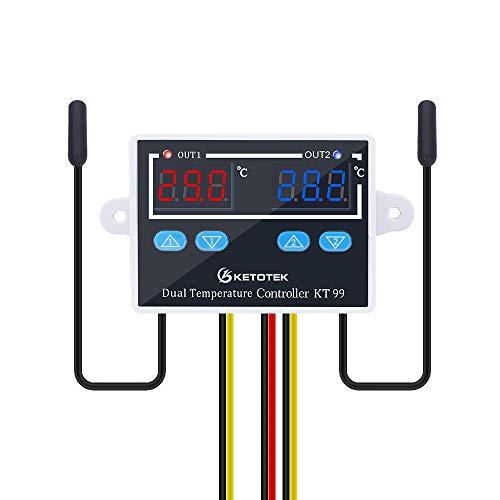 KETOTEK Controlador de temperatura Digital 220V con 2 impermeable Sondas, Termostato Incubadora Frigorifico Horno Control de Calentamiento Enfriamiento