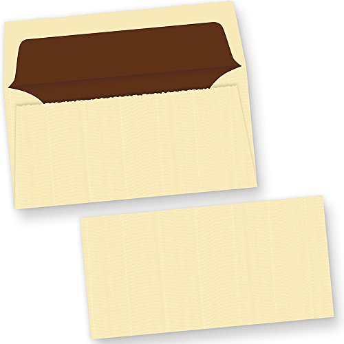 Echt Bütten Briefumschläge wildgerippt elfenbein (25 Stück) edel hochwertige Umschläge DIN lang, gefüttert mit Innenfutter