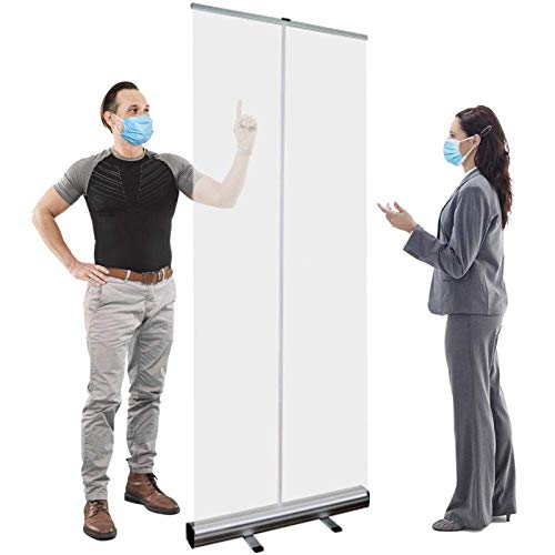 WYCD Protector de estornudos, de pie independiente, protector de estornudos, lona transparente completa con escudo de soporte, fácil de transportar, 6 tamaños
