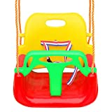 Tgzwme 3 in 1 Kids Swing Seat, Toddler Infants to Teens High Back Full Bucket Secure Swing Chair Detachable Indoor Outdoor Toddlers Children Hanging Seat with Snap Hooks and Hanging Strap (Red)