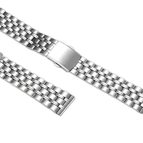 ETbotu Geschenken voor mannen, Mannen Horlogeband 20 mm RVS Horlogeband Metalen Armband Horloge Accesspries, 20 mm stalen band met vijf kraaltjes