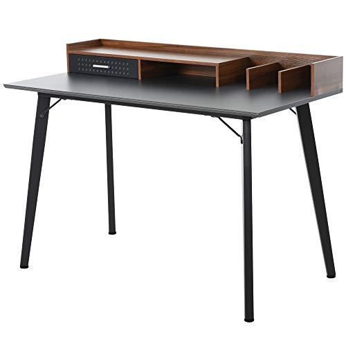 HOMCOM Moderner Computertisch/Laptop-Schreibtisch mit Stall, 1 Schublade, Heimbüro-Möbel, Braun und Schwarz, Einheitsgröße
