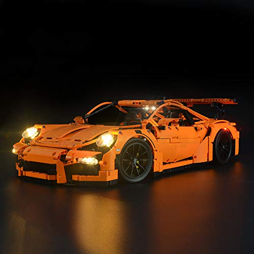 Briksmax Technic Porsche 911 GT3 RS Led Lighting Kit- Compatible with Lego 42056 Building Blocks Model- Not Include The Lego Set