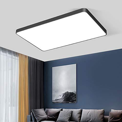Style home 48W LED Deckenleuchte Büro Deckenlampe, voll dimmbar mit Fernbedienung, Rechteckig 65*43*5cm (Schwarz)