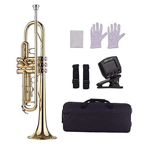 Btuty Instrumento de viento de trompeta de latón estándar con boquilla llevar bolsa guantes de limpieza sintonizador de paño