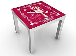 Apalis 54990–312425Design Table Charlotte aux Fraises–Pointe Danse Logo, 55x 55x 45cm Couleur de la Table: Blanc Vert
