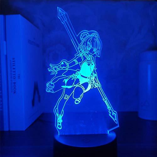 Genshin Impact Xiangling - Lámpara de juego de ilusión LED 3D con luz nocturna para niños y niños, decoración de dormitorio, sensor táctil acrílico, regalo de mesa, 7 colores, control táctil