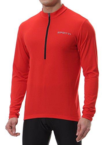 Spotti Men's Long Sleeve Cycling Jersey, Bike Biking Shirt-, Red, Size Large