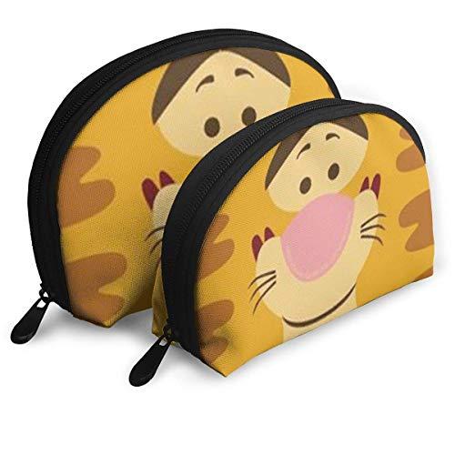 Mignon Sac de Maquillage de Tigre Sacs de Voyage Petit Sac de Coque Sac de Toilette Portable Pochette d'embrayage 2pcs