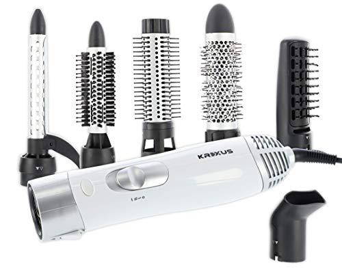 KREXUS EX9114 Haartrocknerbürste Heißluftbürste Lockenstab 6-in-1 Set – Föhn Welleneisen Glättbürste Föhnbürste Rundbürstenföhn Warmluftbürste Haartrockner – Ionisierung Rotierend 1200W 6 Aufsätze