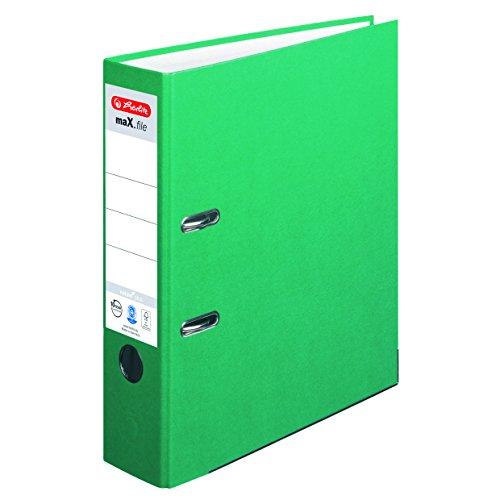 Herlitz Ordner maX.file nature plus, Spezialpapierbezug, Kantenschutz, standfest, A4 8 cm, grün