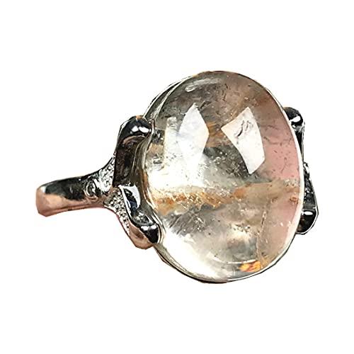 Anillo de piedra de cuarzo fantasma natural fantasma, cristales de cuarzo fantasma, anillos de joyería para mujeres perlas 15x11mm piedra plata ajustable anillo AAAAA
