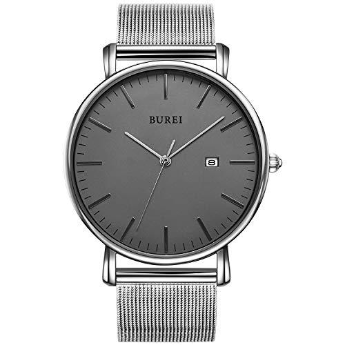 BUREI Stilvolle Minimalistische Ultra Slim Herren Uhr Grau Datum Großes Gesicht Armbanduhr mit Silber Armband