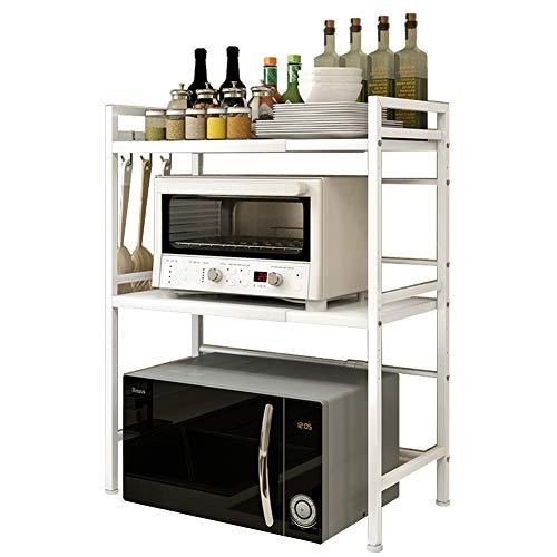 Vinteky Mikrowelle Regale, Schwerlast Mikrowellenregalständer 3-Schicht für Küche und Aufbewahrung, Weiß