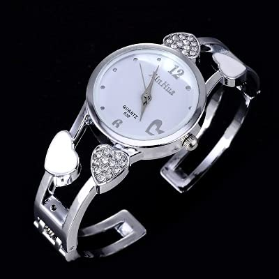 Msltely Reloj de la Pulsera en Forma de corazón Relojes de Las Mujeres Rhinestone de Lujo Relojes para Mujer Reloj de Las señoras Reloj de Acero Zegarek Damski Reloj Mujer (Color : White)