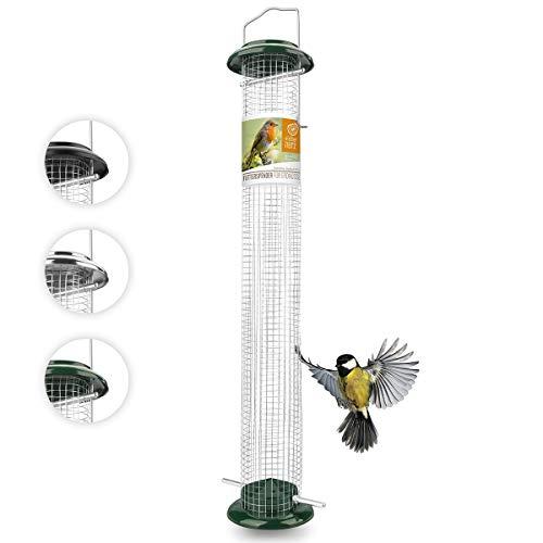 wildtier herz I Vogelfutterspender 52cm, Grün - Erdnussfutterspender aus rostfreiem Metall, Vogel Futterstation, Futtersäule, Nüsse Erdnüsse, Wildvögel Futtersilo