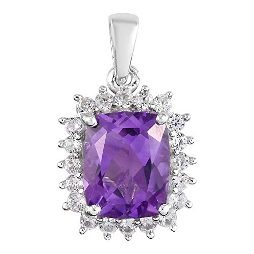 TJC Natural Amethyst Halo Pendant for Womens in Platinum Plated 925 Sterling Silver Anniversary Jewellery with White Zircon, TCW 3.5ct