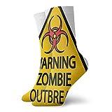 Calcetines cortos de longitud suave de pantorrilla de advertencia de zombies, señal de brote de cementerio, infección gráfica, calcetines para mujeres y hombres, ideales para correr