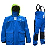 Navis Marine Coastal Sailing Jacket with Bib Pants Fishing Rain Suit Foul Weather Gear (613Navy, Large)