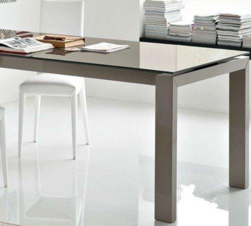 Calligaris Connubia by Table extensible Sigma Glass CS/4069-LV 180 – Structure : laqué blanc mat P94 – Plateau : céramique Ciment P1C