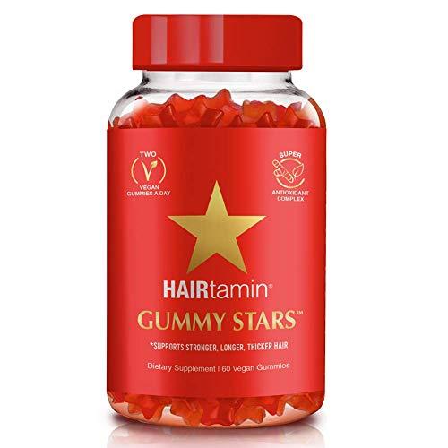 HAIRtamin Star Gummy Hair Vitamins | Biotin Gummies Vegan Hair Supplement Multivitamin for Fast Hair Growth, Skin, Nail for Women & Men with Zinc, Vitamin C, Vitamin D, Turmeric | Gluten-Free, Non-GMO