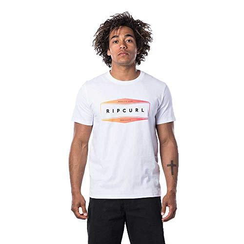 Rip Curl Neon - Camiseta de manga corta, color blanco, gráfico, Manga Corta, Hombre, color blanco óptico, tamaño L