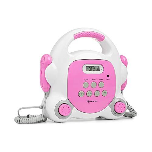 auna Pocket Rocker BT - Equipo de Karaoke, Conectividad Bluetooth, 2 micrófonos de Mano, Puerto USB para Reproducir MP3, Pantalla LCD, Conector AUX, Asa, Enchufado o con batería, Fucsia