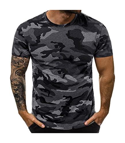 Shirt Musculosa Hombre Verano Transpirable Cuello Redondo Estampado Camuflaje Hombre Shirt Básica Moderna Estiramiento Manga Corta Shirt Ocio Tendencia Fresca Hombre T-Shirt D-Grey 2 M