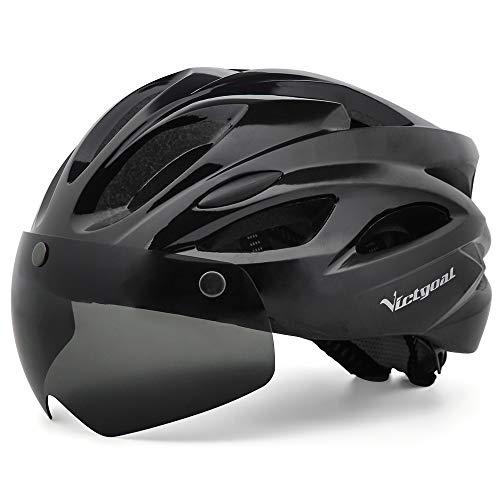 VICTGOAL Fahrradhelm MTB Helm LED Licht mit Abnehmbarer Schutzbrille Fahrradhelm mit Visier Helm für Unisex Herren Damen 57-61 cm (Schwarz)
