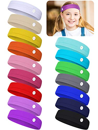 16 Pieces Children Sports Button Headbands Kids Colorful Elastic Headbands Non-Slip Yoga Headbands with Ear Protection for Boys Girls