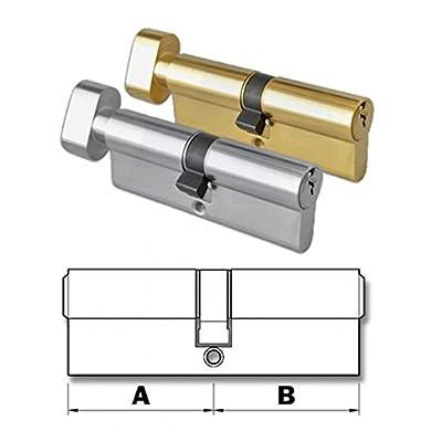 Foto di HomeSecure - Serratura per porta a cilindro europeo, con manopola fissa, elemento sostitutivo resistente al trapano, disponibile in ottone e nichel
