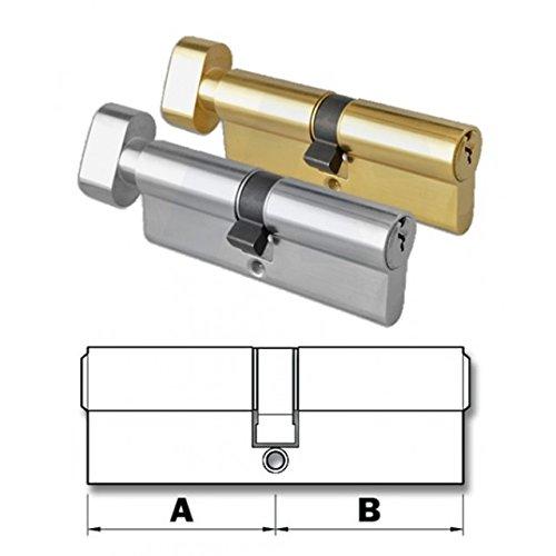 Thumb-Turn Euro Cylinder Door Lock Barrel - Brass & Nickel - Replacement Thumb-Turn Lock Barrel - Drill Resistant (40x50, Brass)