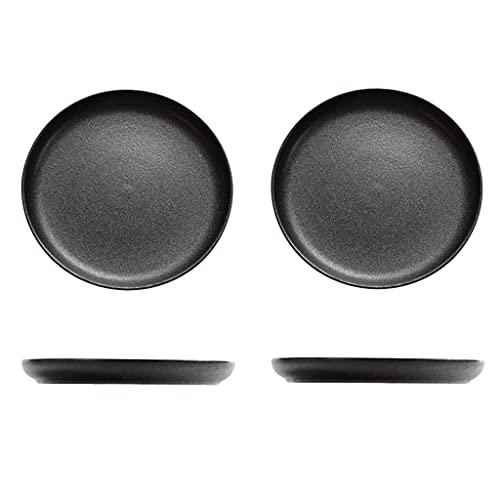 Platos Placas de cena negras Conjunto de 2 placas de cerámica Conjuntos mate Placas negras para ensalada de carne pasta Sushi y platos de postre Mírico Horno y lavavajillas Caja fuerte Vajilla