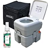Rocklin Industry Portable Toilet - 8 Gallons Combined Tank Capacity - Easy Clean - Odor Eliminator Spray Included - Indoor or Outdoor Use