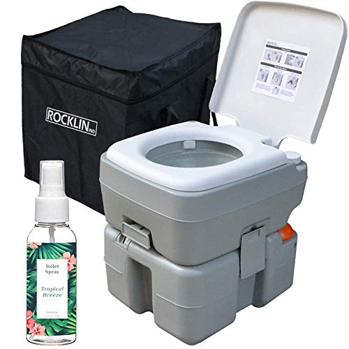 Rocklin Industry Portable Toilet - 8 Gallons Combined Tank Capacity - Easy Clean - Odor Eliminator Spray Included - Indoor or...