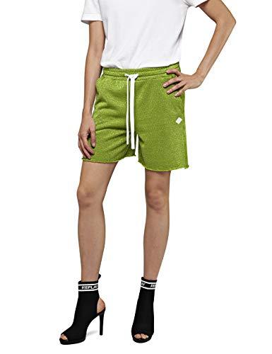 Replay Damen W8859 .000.22672 Shorts, Grün (Green Lurex 50), W(Herstellergröße: L)