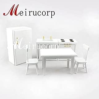 Dollhouse miniatures Kitchen Set Gas stove+sink+Refrigerator+Table+2pcs chair