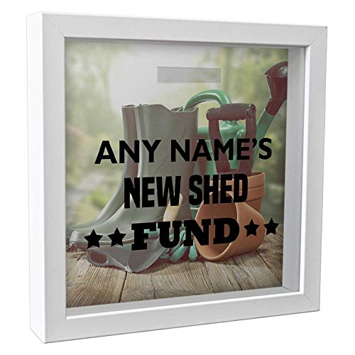 Personalised New Shed Fund 25cm Glass Savings Money Box Photo Frame vinyl print 20
