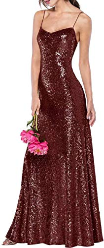 Emmani Women's Sequin Bridesmaid Dresses Spaghetti Strap Formal Party Dresses